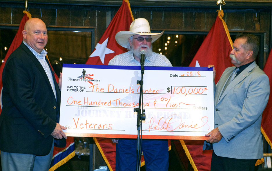 Charlie Daniels Presents $100,000 Check to MTSU's Daniels Center on Behalf of The Journey Home Project